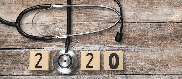 Stethoskop mit Jahreszahl 2020