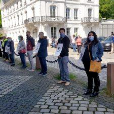 Pflegende demonstrieren vor Staatskanzlei