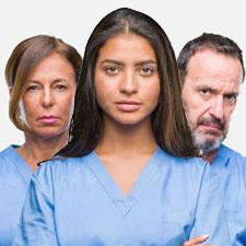 Grimmig dreinschauende Pflegekräfte